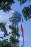 Sikt av mötetornet i Dallas, TX till och med träd med den statliga flaggan Arkivfoto