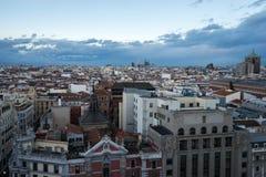 Sikt av Madrid från circulo de bellas artes Royaltyfri Fotografi