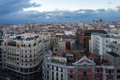 Sikt av Madrid från circulo de bellas artes Royaltyfri Foto