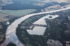 Sikt av Magdeburg och Salbker sjöar Royaltyfri Foto