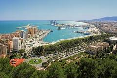 Sikt av Malagas port Arkivbilder