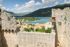 Sikt av Mali Ston, Kroatien Arkivbilder