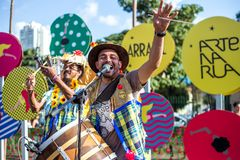 Sikt av mannen i typisk brasilian, Junina parti royaltyfri foto