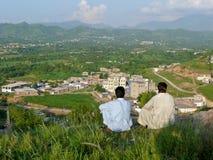 Sikt av Mansehra i nordliga Pakistan arkivbilder