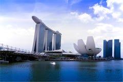 Sikt av Marina Bay. Fotografering för Bildbyråer