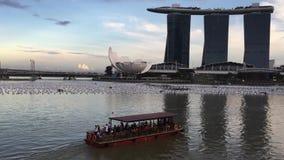 Sikt av Marina Bay i Singapore stock video