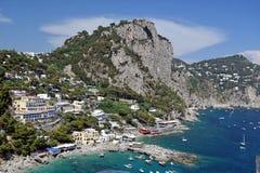 Sikt av Marina Piccola i Capri, Italien Fotografering för Bildbyråer