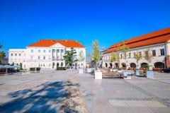 Sikt av marknadsplatsen i Kielcen/Polen arkivbild
