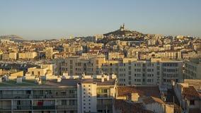 Sikt av Marseille i södra Frankrike Arkivfoto