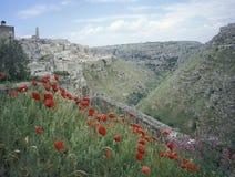 Sikt av Matera i vår, Italien Arkivbild