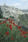 Sikt av Matera i vår, Italien Arkivfoton