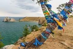 Sikt av medicinmannen Rock baikal lake olkhon russia för baikal ölake Ryssland Arkivbild