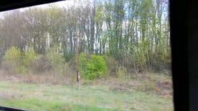 Sikt av miljön och byarna från ett fönster av gående det snabbt drevet stock video