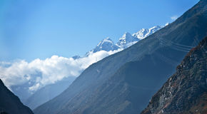 Sikt av Minya Konka, Sichuan Arkivfoto