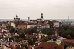Sikt av mitten av Tallinn med fågelns flyg 001 Arkivfoton