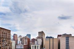 Sikt av mitten Chicago och skyskrapor i i stadens centrum Chicago, Illinois, USA Fotografering för Bildbyråer