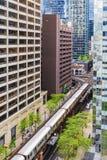 Sikt av mitten Chicago och skyskrapor i i stadens centrum Chicago, Illinois, USA Arkivbilder