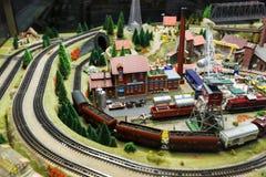 Sikt av modelljärnvägen i Dresden Arkivbild