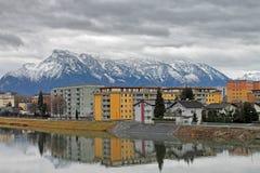 Sikt av modern byggnad i Salzburg, Österrike Arkivbilder