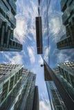 Sikt av moderna skyskrapor i staden av London Fotografering för Bildbyråer
