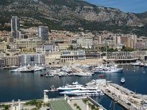 Sikt av Monaco, hamnen och delar av Monte - carlo Arkivbilder