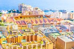 Sikt av Monaco och stadion Louis-Ii Royaltyfria Bilder