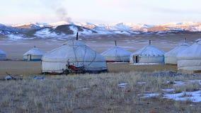 Sikt av mongoliska Ger i den stora stäppen lager videofilmer
