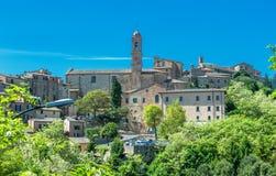 Sikt av Montepulciano, Tuscany, Italien Arkivbild