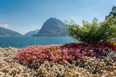 Sikt av monteringsSt Salvatore nära sjön av Lugano Fotografering för Bildbyråer