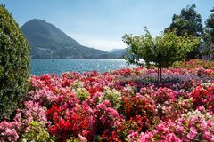 Sikt av monteringsSt Salvatore och sjö av Lugano Royaltyfria Foton