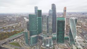 Sikt av Moskva för mitt för affär för Moskva-stad Moskva den internationella, Ryssland gem Bästa sikt av den storartade affären lager videofilmer