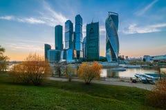 Sikt av Moskvastadsaftonen moscow Arkivfoto