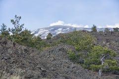 Sikt av Mount Etna på en höjd av 1.800 meter med snöresi Royaltyfri Foto