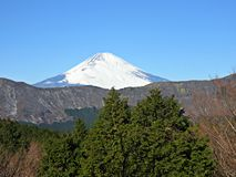 Sikt av Mt Fuji från den Hakone ropewayen Arkivbild