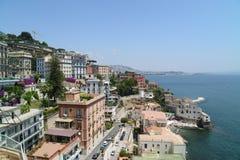Sikt av Naples från Posillipo Arkivbild