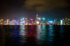 Sikt av natten Hong Kong royaltyfria foton
