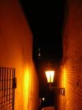 Sikt av nattgatan, lampa Fotografering för Bildbyråer