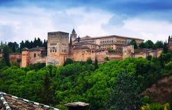 Sikt av Nazaries slottar av Alhambra granada Royaltyfria Bilder