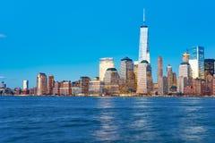 Sikt av New York från Jersey City Arkivbilder