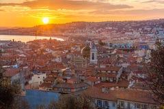 Sikt av Nice - Cote d'Azur - Frankrike Royaltyfri Fotografi
