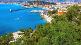 Sikt av Nice, medelhavs- semesterort, ` Azur, Frankrike för skjul D Fotografering för Bildbyråer