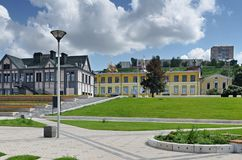Sikt av Nizhny Novgorod från stranden royaltyfri foto