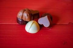 Sikt av olika choklader arkivfoto