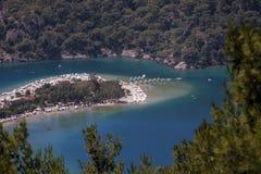 Sikt av Oludeniz, Turkiet från backen Royaltyfria Foton