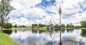 Sikt av Olympiaparken, Munich Arkivbilder