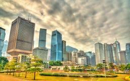 Sikt av området för central affär av Hong Kong Royaltyfri Foto