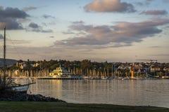 Sikt av Oslofjord från den Bygdoy halvön, Oslo, Norge royaltyfri foto