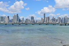 Sikt av Panama City, Panama arkivfoton