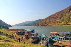 Sikt av papikondalu- och flodgodavarien, Indien Arkivfoto