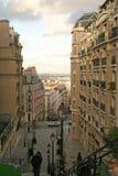 Sikt av Paris gator från den Montmartre kullen Fotografering för Bildbyråer
